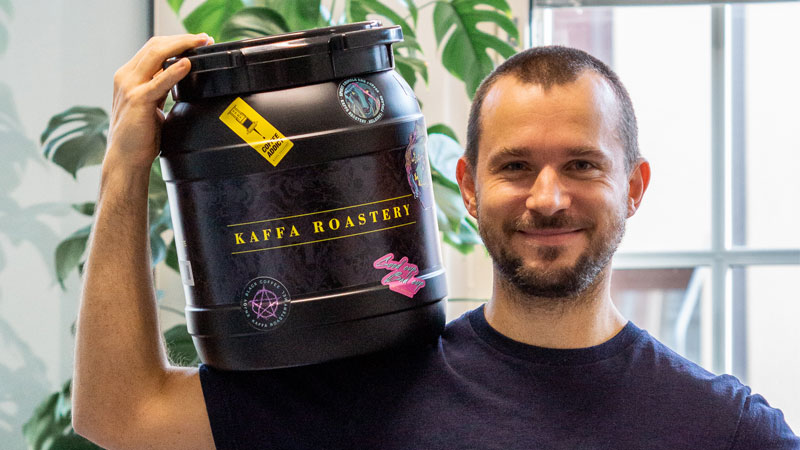 Svante Hampf, founder of Kaffa Roastery, with a reusable coffee drum