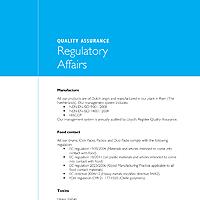 Regulatory Affairs Data Sheet